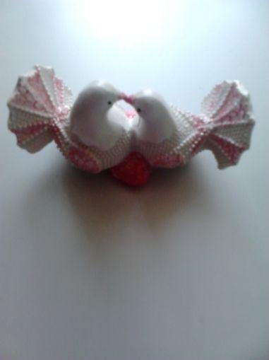 Влюбени гълъбчета от полирезин-розови
