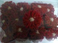 Цветле от вълна-червено-заготовка от 25 бр.