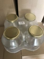 Стъклени буркани 1700 мл, 4бр с капачка в стек